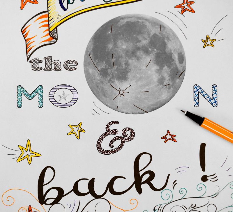 to the moon and back colouring sheet