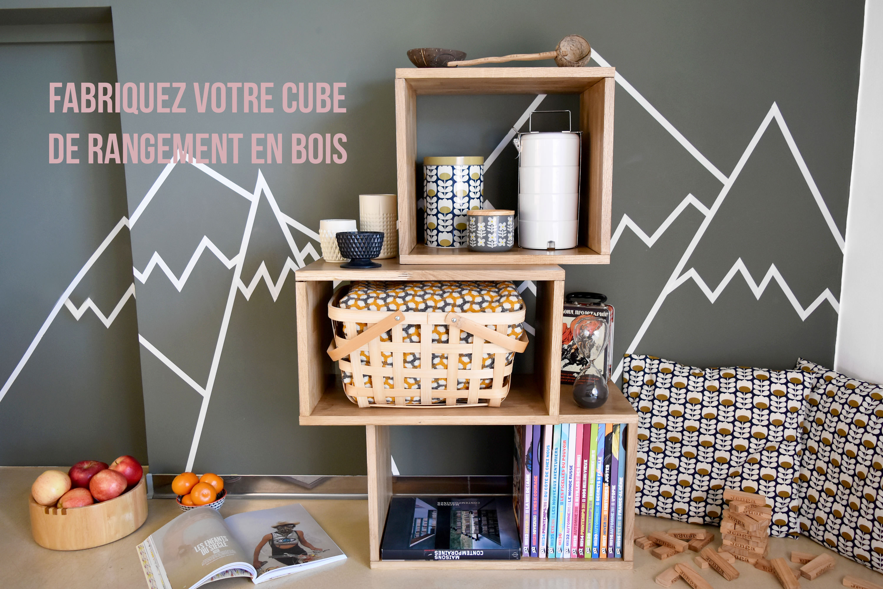 comment faire un cube de rangement en bois be frenchie. Black Bedroom Furniture Sets. Home Design Ideas